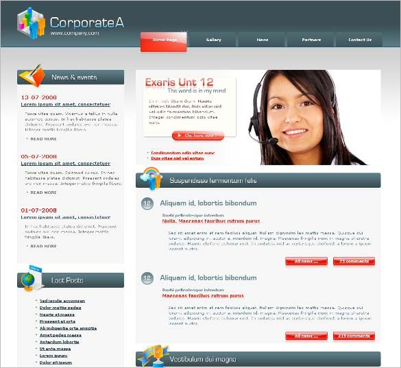 Professional PHP Template Corporate A – Professional and design Here are the words that describe best this template. Corporate A goes far beyond a usual template as it is more a turnkey website with 6 HTML webpages (ready to use) and tremendous features like dynamic CSS menu with tabs, contact form with email sending (with PHP), Lightbox layer effect for image displaying, photo gallery with (using Jquery framework) … And last but not least a special logo designed for you. Photoshop file and (fre