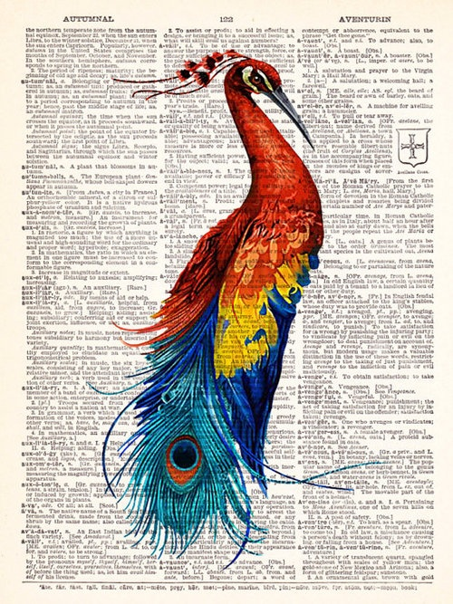 Boho Art ~ Vintage Dictionary peacock Print Vintage Book Print @abbey Hawkins Hey Boone!!! This would take a long time but randome idea what if someone had a dictionary and for every page they picked out one word and drew it on that page. that would be crazy! but cool!