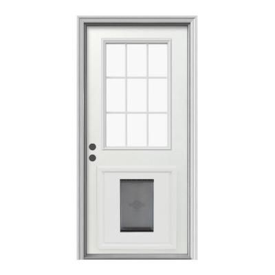 Jeld Wen 9 Lite Primed White Steel Entry Door With Large Pet Door And Brickmold Thdjw203900012