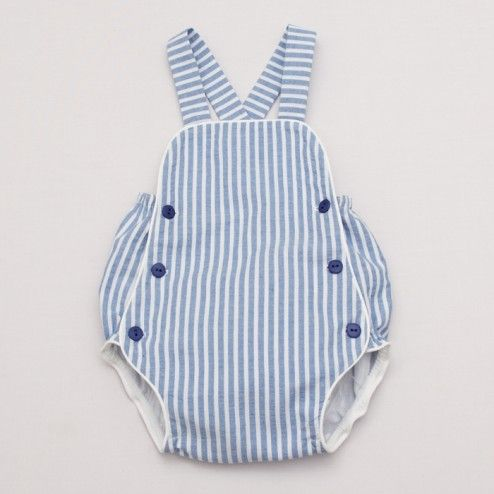 Baby Striped Romper – White and Blue