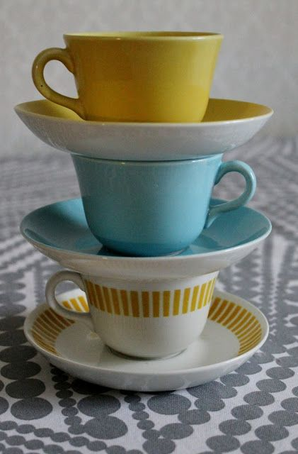 Arabia Finland vintage coffee cups.