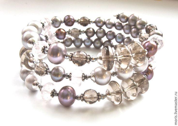 """Купить Жемчужный браслет из серебра """"Жазмина"""" раухтопаз кварц ... - купить браслет в москве, жемчужный браслет"""