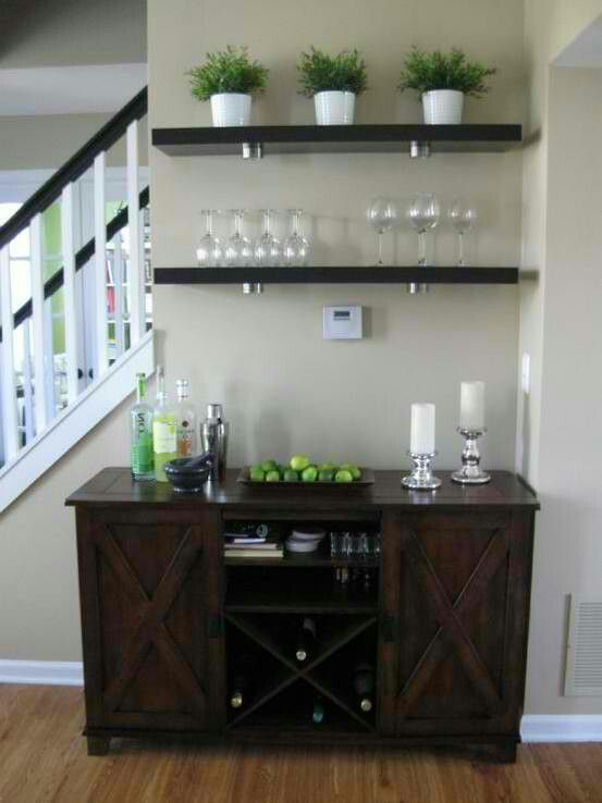 "Mini Bar =} !!! love this idea only I would remove the top shelf and replace it with a""wine"" sign or rhyme. Also on the shelf I use I would make into an upside down glass holder. My new home has the exact space as this. So it would fit perfectly!"