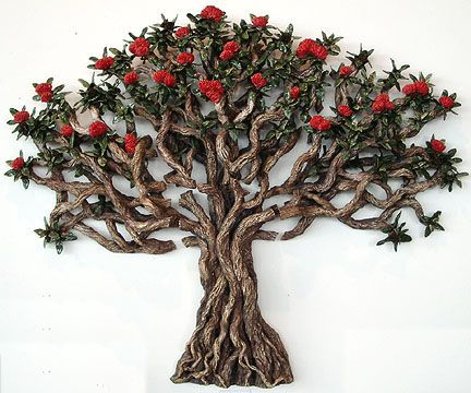 Karen Hart nz ceramic pohutukawa,wall piece