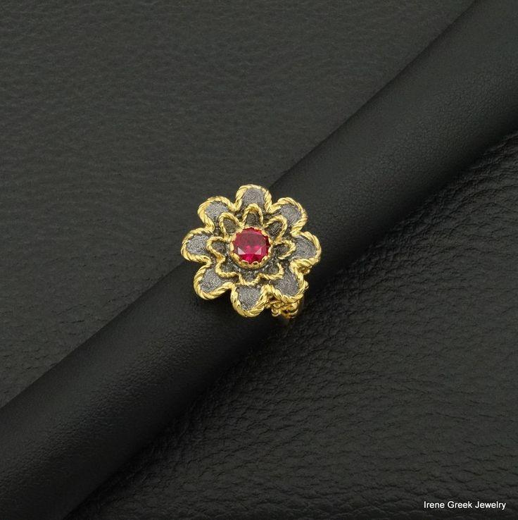 RUBY CZ FLOWER  925 STERLING SILVER 22K GOLD & BLACK RHODIUM PLATED GREEK RING #IreneGreekJewelry #Birthday