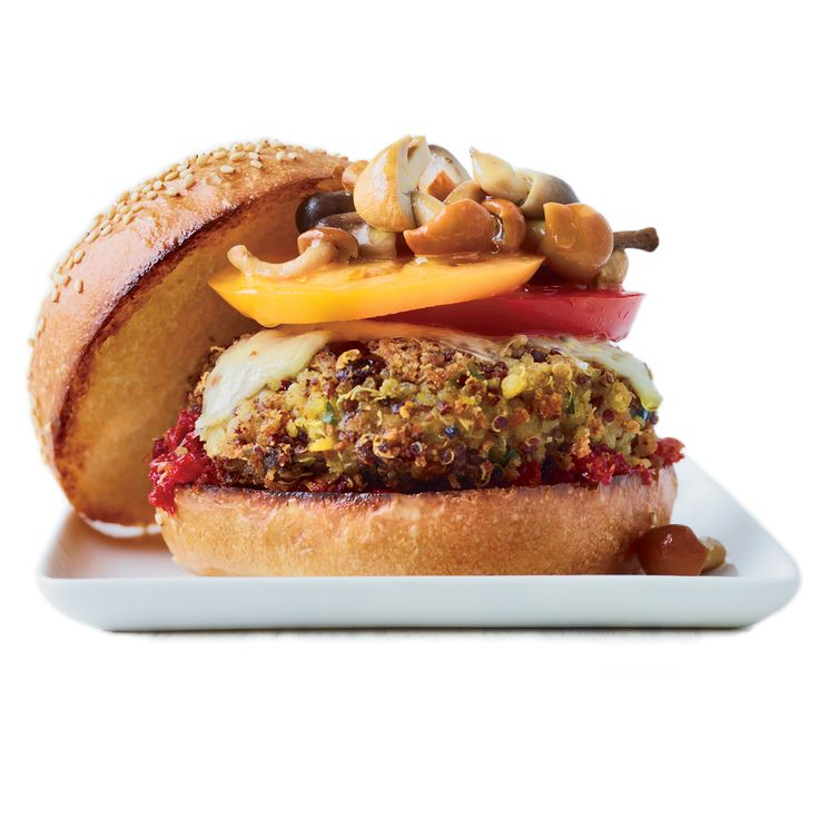 Fresh and Juicy Veggie Burgers. This veggie-packed burger is made with chickpeas, artichokes, olives, asparagus and quinoa, then topped with melted cheese and marinated mushrooms.