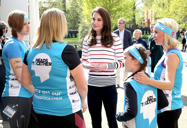 Kate Middleton, Duchess of Cambridge, looks gorgeous in a Luisa Spagnoli blue and red striped top. She wore this sweater to welcome to Kensington Palace the Team Heads Together runners competing in the London Marathon.