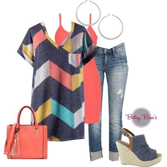 Set includes 3 items: Navy Chevron Sublimation Top, Coral Nylon Tank, and Hoop Earrings. Retails separately for $63. Fits: Small 2/4, Medium 6/8, Large 10/12 Click Here for Jeans Click Here for Bag Cl