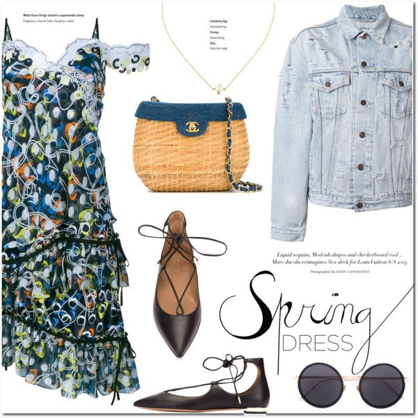 Sweet Spring Dress by stellaasteria on Polyvore featuring Peter Pilotto, Forte Couture, Aquazzura, Chanel, Bea Bongiasca, Linda Farrow and springdress