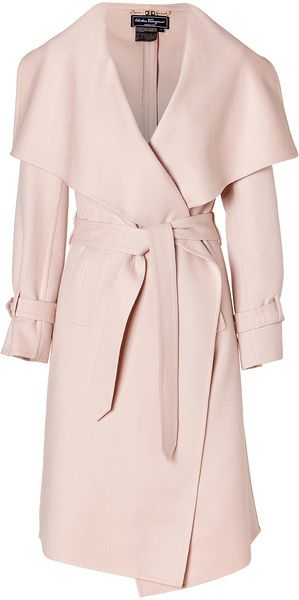 FERRAGAMO Cream Pearl Cashmere And Wool Blend Coat - Lyst