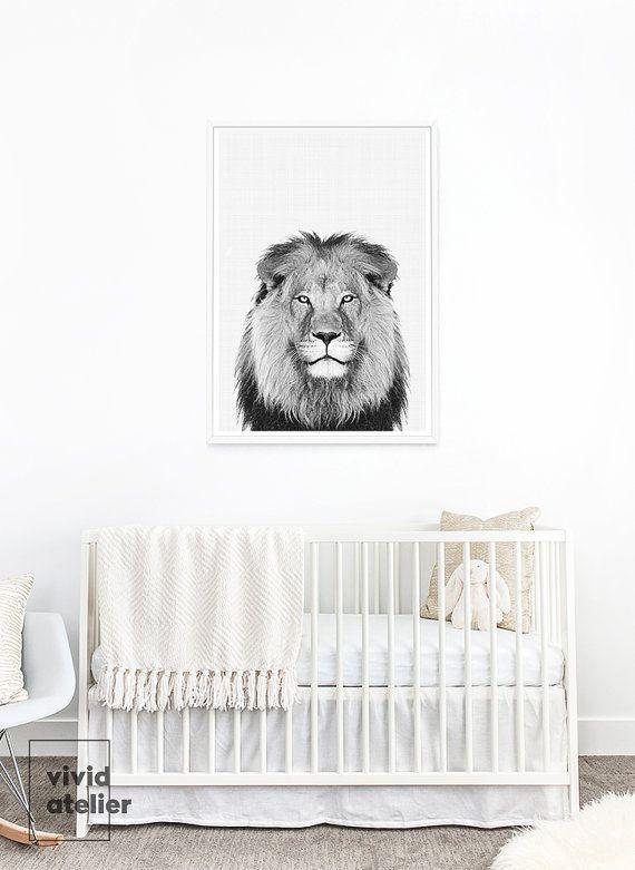 printable lion nursery print art