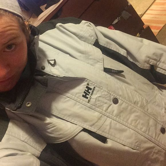Helly Hansen ski jacket !! Worn but still good shape jelly Hanson jacket. Light pale gray blue, slightly faded but beside that everything else is good! Helly Hansen Jackets & Coats