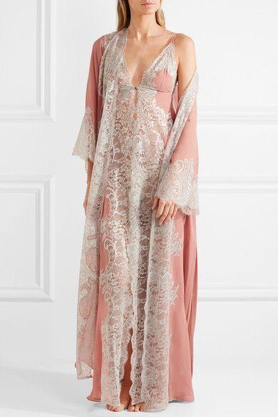 Rosamosario | Sweet Sumatra metallic lace-paneled silk-georgette nightdress | NET-A-PORTER.COM