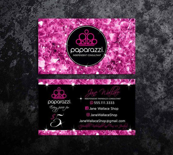 Paparazzi Business Cards Paparazzi Jewelry Paparazzi Accessories Paparazzi Consultant Bla Jewelry Business Card Printable Business Cards Glitter Business Cards