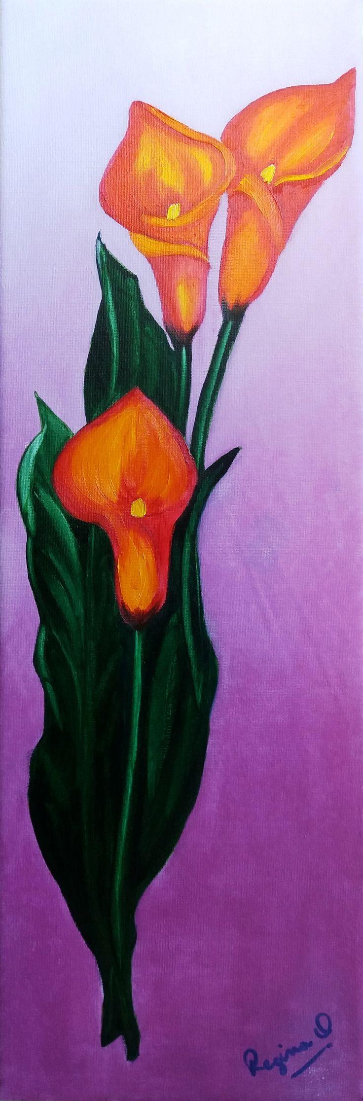 Regina Oyarzún Calas naranja óleo sobre tela de 20x60 cms (réplica libre)