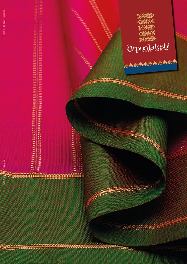 Persian rose and emerald green. Feminine draping at its picturesque best. The green border and pink body is sans zari thread work (except the essential few adding character to the saree) giving the ruling colours their moment of glory.#Utppalakshi #Sareeoftheday#Silksaree#Kancheevaramsilksaree#Kanchipuramsilks #Ethinc#Indian #traditional #dress#wedding #silk #saree#craftsmanship #weaving#Chennai #boutique #vibrant#exquisit #pure #weddingsaree#sareedesign #colorful #elite