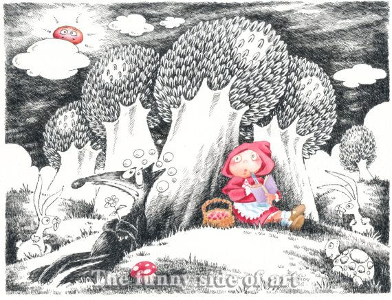 Little Red Riding Hood and the Big Bad Wolf   No 5, Giclee print of Original pen & ink, watercolor child illustration, Funny Valentine gift