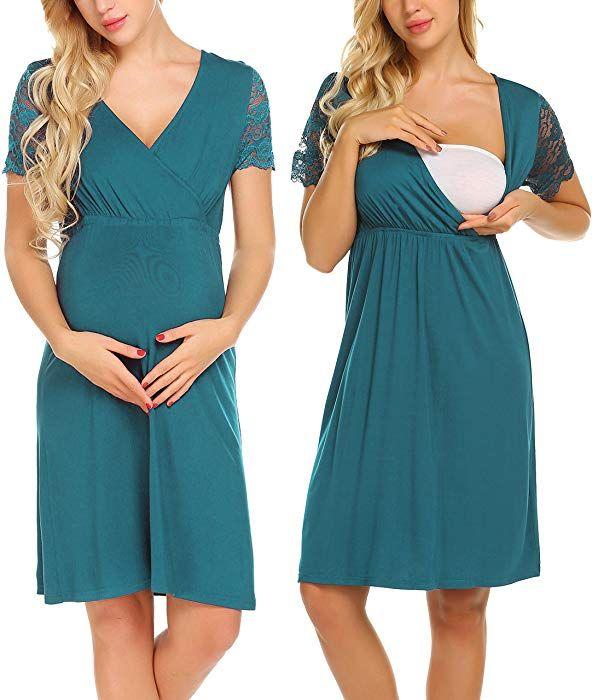 MAXMODA Womens Short Sleeve Maternity Dress Nursing//Breastfeeding Nightgown Dress 10 Colors S-XXL