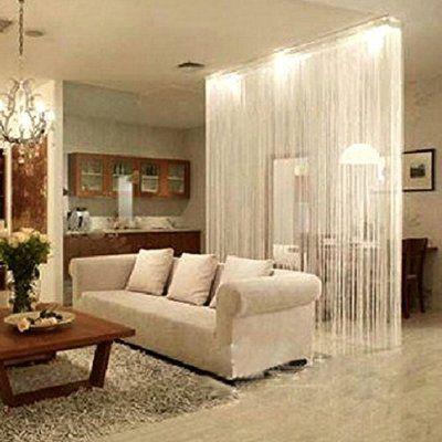 Weiß Fadenvorhang Fadengardine Fadenstore Raumteiler Vorhang Türvorhang