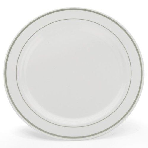 """China-Like White w/ Silver Border Premium Quality Heavyweight 10"""" Plastic Plates 10 Count by Blue Sky. $12.49. Design is stylish and innovative. Satisfaction Ensured.. 10"""" Diameter. Elegant design resembles hand-painted china.. Premium quality heavyweight plastic.. Manufactured to the Highest Quality.. 10 Count White plastic plates with a Silver border. Looks like real china- but is disposable."""