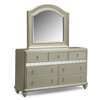 Serena Dresser and Mirror- Platinum | Value City Furniture