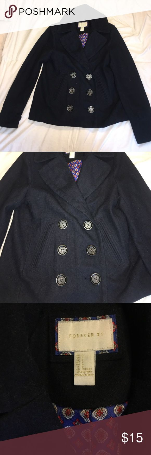 Navy Pea Coat This jacket will definitely keep you warm in the winter!! It is a heavier jacket and can be dressed up or down. It is in great condition and looks like it too! Forever 21 Jackets & Coats Pea Coats