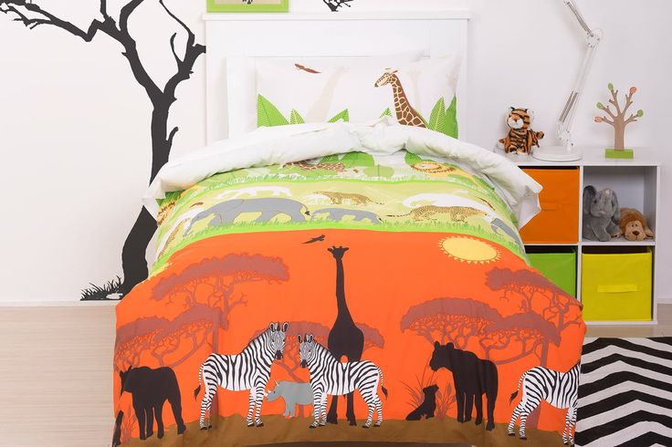 This cool Savannah Duvet Cover Set takes you on an adventure safari to where the wild things are with zebras and giraffes gracing the cover.