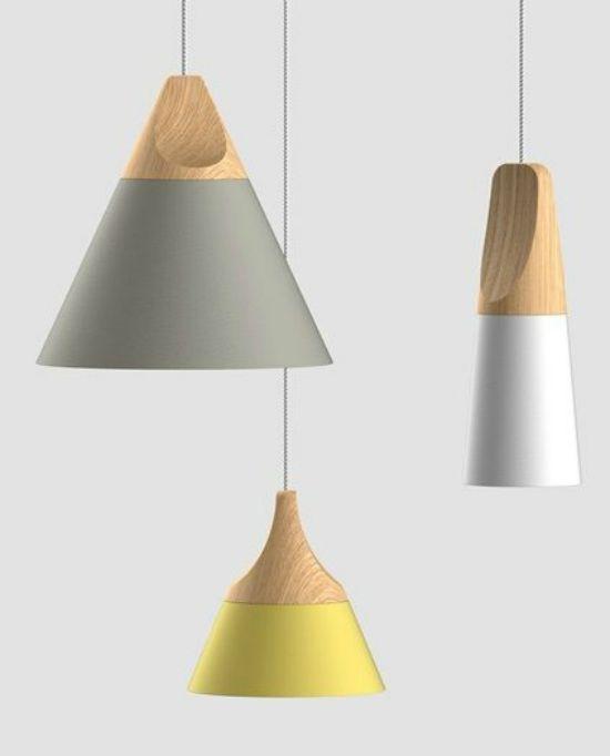 Color Block Wooden Pendant Lamps by Miniforms