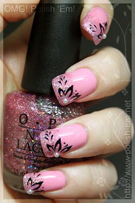 Basecoat: Nail Envy by OPI  Pink: Pink Friday by OPI  Glitter: Teenage Dream by OPI  Stamping plate: RA-119 by Red Angel  Stamping polish: Konad special polish in black  Topcoat: Seche Vite