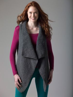 Free Lion Brand Knitting Pattern- Level 1 Knit Vest                                                                                                                                                                                 More