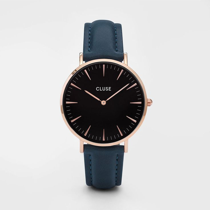 Montre La Bohème Rose Gold Black/Petrol Blue - Cluse