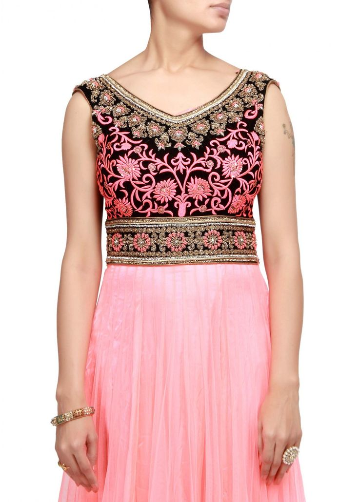 Pinkish peach anarkali suit with embroidered yoke – Panache Haute Couture