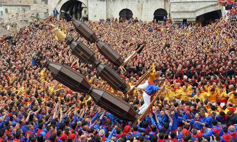 il 15 maggio appuntamento con la tradizionale Corsa dei Ceri a #Gubbio. La Festa dei Ceri è tra le più antiche, se non in assoluto la più remota, manifestazione folcloristica italiana. La Festa ebbe ed ha tuttora un ruolo fondamentale per la comunità eugubina.  Calati nell'atmosfera e prenota la tua camera all' #HotelGiò.  Spendi meno di quanto pensi! http://bit.ly/maggioperugia