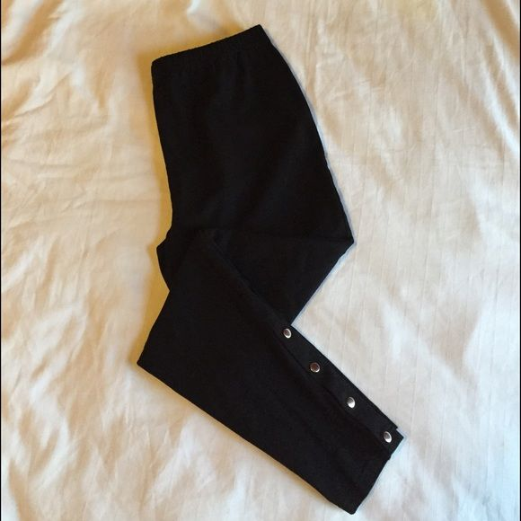 Who Cares black leggins with metal details Who Cares by Alisha Levine Black leggins with metal buttons . Who Cares by Alisha Levine Pants