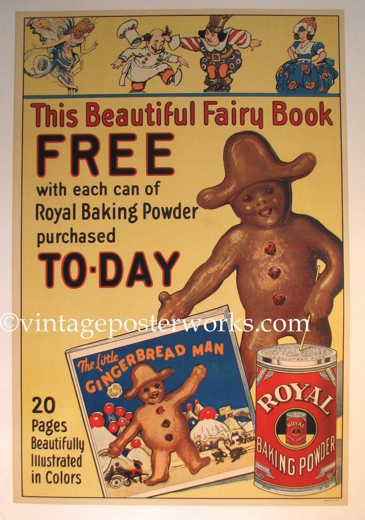 1920 Ginger Bread Boy Advertising Poster Marked: PRINTED IN U.S.A. AGE: Circa 1920`s, lithograph ARTIST: Unsigned, but known to be illustrated by Lucille Patterson Marsh, American woman graphic design