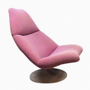 Niederländischer Drehsessel in Pink mit Trompetenfuß von Geoffrey Harcourt für Artifort