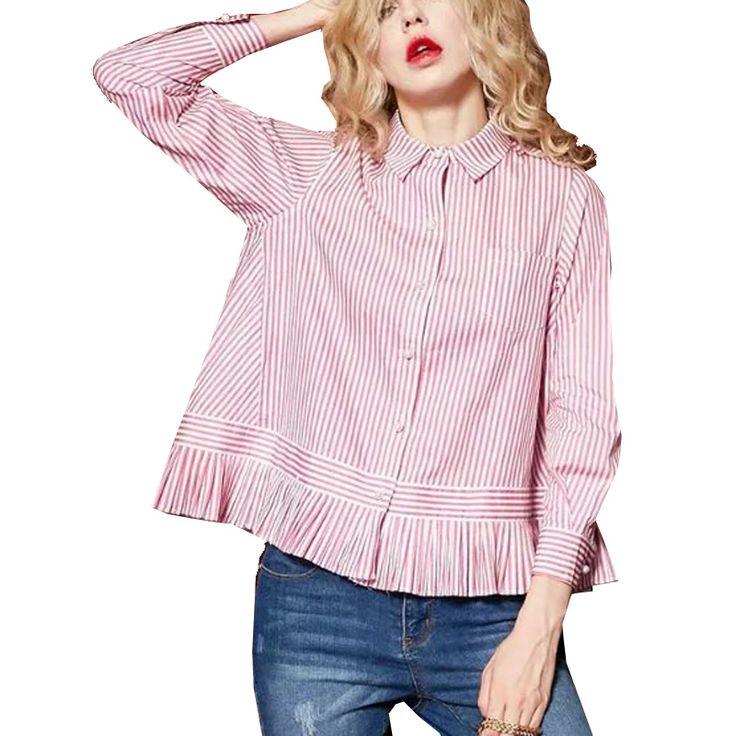 College Wind Women Cute Striped Pleated Hem Blouse Female Sweet Loose Turn-down Collar Long Sleeve Shirt Blusas Doll models Tops