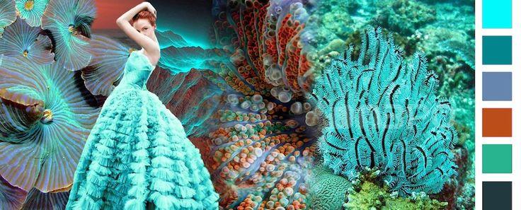 Stylink colour trends 2016 Ocean Love De koraalblauwe kleuren van onder en boven en de oceaan gecombineerd met warm oranje vormen een prachtig water-kleurenbeeld die, met zijn reflectie en transparantie, gradaties zijn van koraalblauw, turquoise en mandarijn oranje.