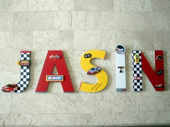 Race Car Custom Name Letters Nascar Race Car Custom Wall Etsy In 2020 Car Wall Art Car Themed Bedrooms Car Room Decor