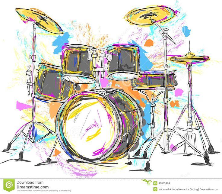 Paintings Of Drums | Drum Painting Vector Art - Vector Art.