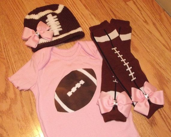 Awesome for Super Bowl Party! ....Newborn, Baby, Toddler Girl Pink Football Onesie Set INCLUDES Matching Football Leg Warmers and Crocheted Football Hat via Etsy