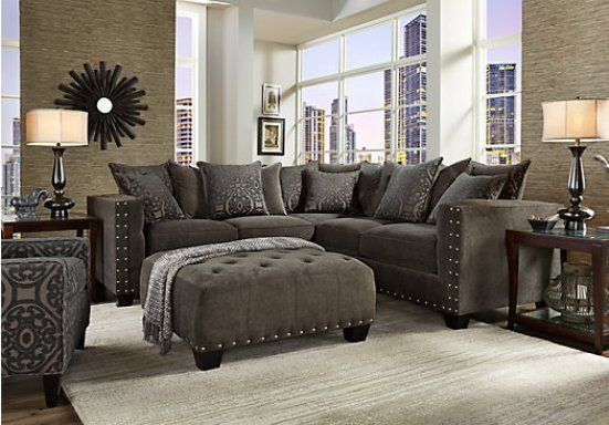 Grey Sofa With Nailheads | Buy Steve Silver Torrey Sectional In Charcoal  Gray Fabric   TY900 SC ... | Home Improvement DIY | Pinterest | Grey  Fabric, ...