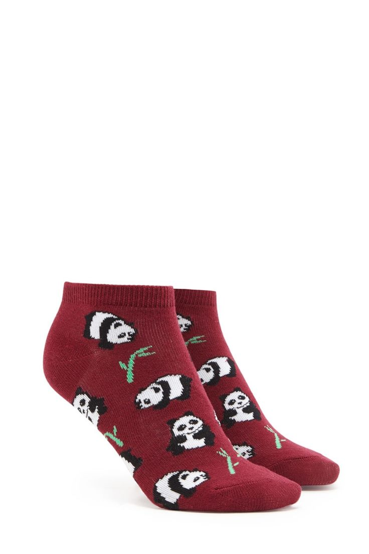 A pair of knit ankle socks featuring an allover panda and bamboo print and a ribbed trim.