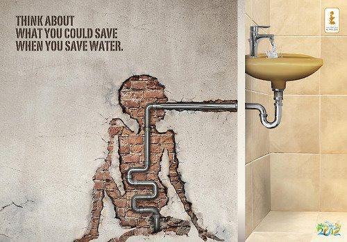 Propaganda para divulgar o consumo consciente de água.