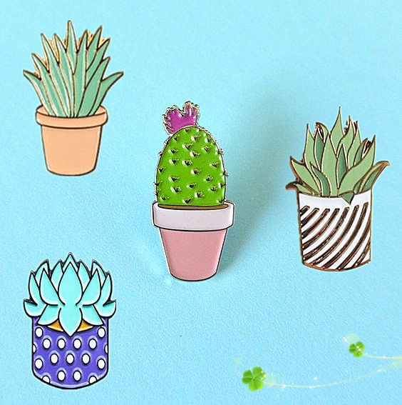 Fashion jewelry Oil Drop Cute Cactus Pots Planet Metal Brooch Pins Button Pins Girl Jeans Bag Decoration