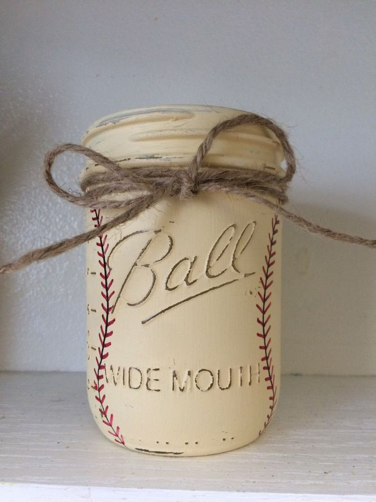 Vintage Baseball Painted Mason Jars, Baby Boy Nursery - Baseball Nursery, Baby Shower, Sports Birthday Decor, Sports Nursery, Centerpiece by PrettySimplyStudio on Etsy https://www.etsy.com/listing/232606260/vintage-baseball-painted-mason-jars-baby