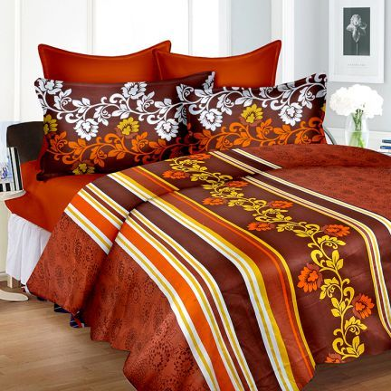 Cortina Brown King Size Fitted Bed Sheet Set,King Size Bed Sheets