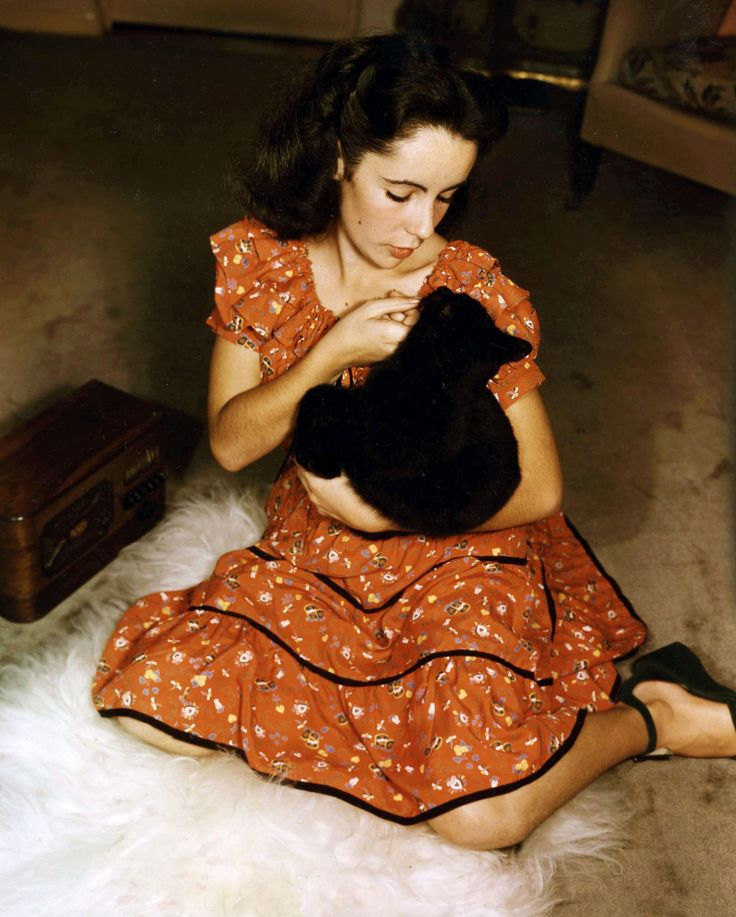 Elizabeth Taylor. With a cat.