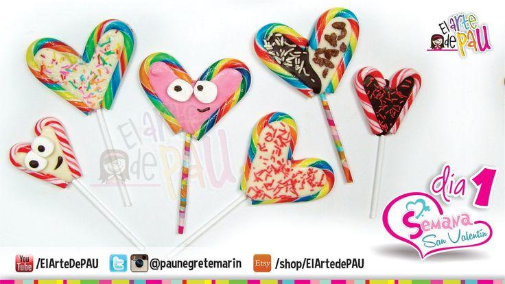 (Day 1) Valentine's Day Chocolate&Candy Lollipop / (Día 1) Paleta de car...