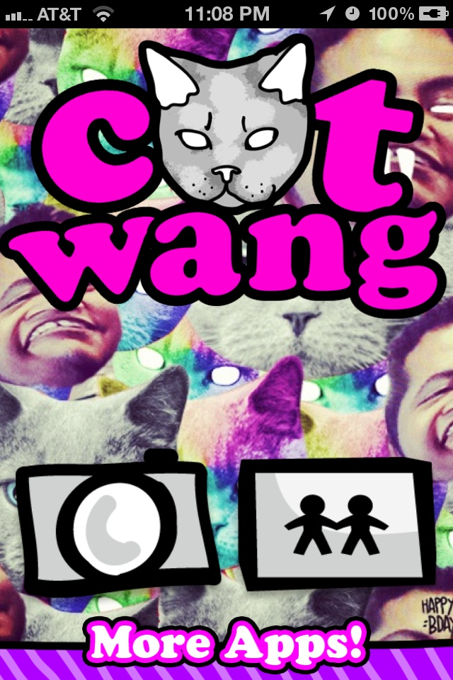 TopAppsToday - #CatWang    Catwang allows you to take #photos of your friends and turn them into cats, wolves, or donuts. Its like everything that is cool on the internet in one app!    1. Take Photo  2. Choose from hundreds of amazing stickers  3. Slap them everywhere, scale, rotate, and flip  4. Share your cat creations on #Twitter, #Tumblr, and #Instagram